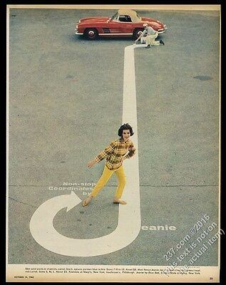 1962 Mercedes-Benz 300SL red car photo Jeanie Jac jacket pants vintage print ad