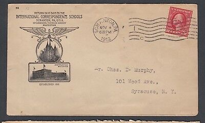 Usa 1912 International Correspondence Schools Advertising Cover Scranton Pa