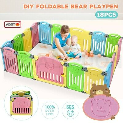 ABST 18 Panel Kids Baby Playpen Interactive Baby Room Foldable Safety Gates Bear