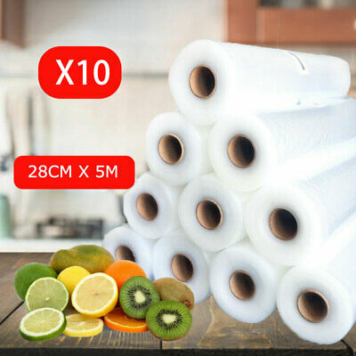 10 X Vacuum Food Sealer Rolls Saver Seal Bag Storage Commercial Heat Grade 28cm