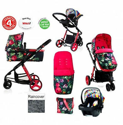New Cosatto Giggle 2 Tropico / Go Brightly Combi 3 In 1 Pushchair Travel System