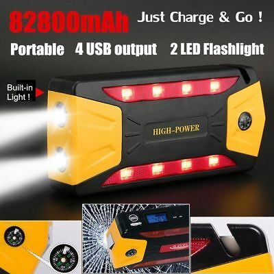 82800mAh Portable Car Jump Starter Battery Booster with LED USB Power Bank NEW B