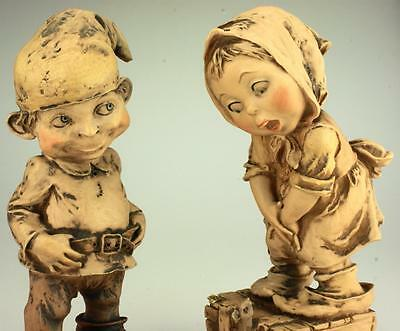 Lot of 2 Giuseppe Armani Gulliver's World Collection Figurines Elf and Girl BH4