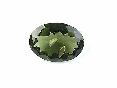 11.14ct ONE FACETED NATURAL MOLDAVITE + BUBBLES + GEM certificate #CERTIF120