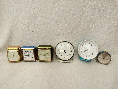 X 6 Vintage Alarm And Travel Clocks For Tlc