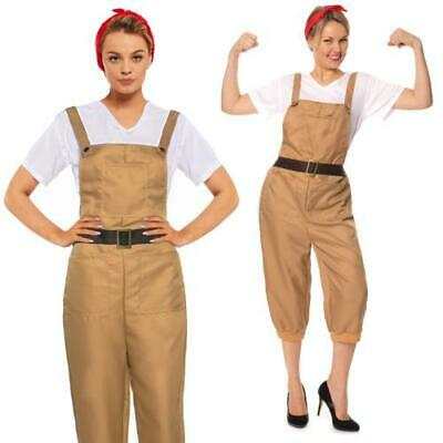 40/'s WW2 Land Girl Munitions Army Wartime Womens Ladies Fancy Dress Costume