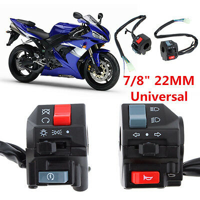 """Pair DC 12V Motorcycle 7/8"""" Handlebar Horn Turn Signals Electrical Start Switch"""