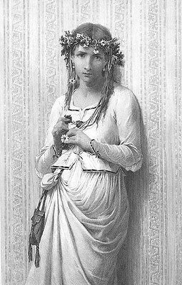 Shakespeare Play HAMLET PRETTY YOUNG GIRL OPHELIA ~ Old 1876 Art Print Engraving