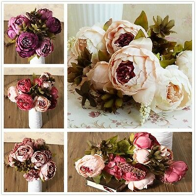 Artificial Bouquet 10 Head Peony Silk Flowers Fake Leaf Wedding Party Decor Home