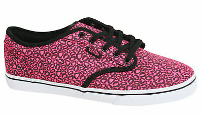 cb2beba5d8 Vans Atwood Lo Pink Black Lace Up Womens Canvas Trainers Plimsolls NJO7II  Vans E