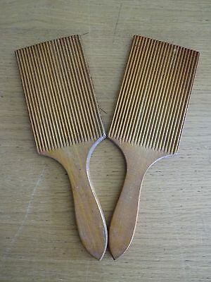 A Pair Of Vintage Wooden Grooved Butter Dairy Pats