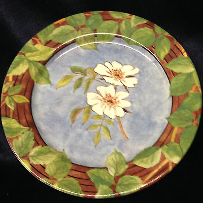"""Gien France Evasion 5"""" Coaster Small Plate Meilleurs Voeux 1991 White Flowers"""