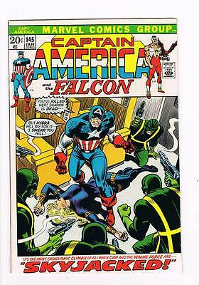 Captain America # 145  Skyjacked ! grade 8.0 scarce book !!