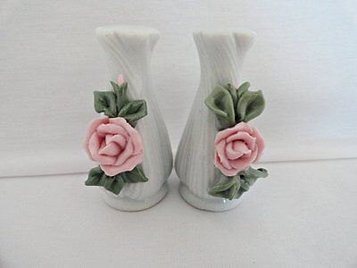 Ceramic Salt & Pepper Shakers with Pink Rose and Green Leaves
