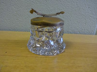 """FOSTORIA AMERICAN CRYSTAL 3½"""" SUGAR CUBE POT WITH TONGS - EPNS lid"""