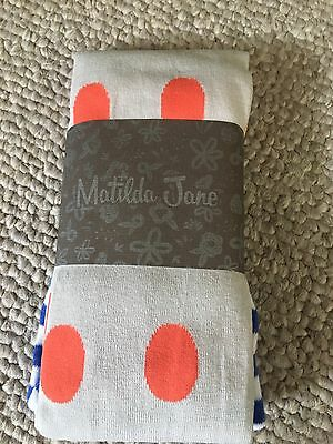 MATILDA JANE LEMON DROP POLKA DOT TIGHTS  L Large NEW NWOT HAPPY & FREE