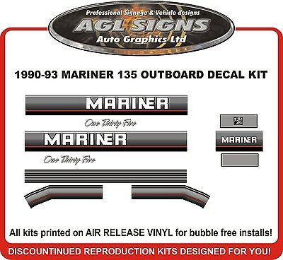 1990 1991 1992 1993 MERCURY MARINER 135 HP Outboard decal Kit   REPRODUCTION