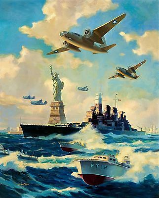 Original Nyc Wwii B-26 Thunderbolt - Pt Boat Air Force, Navy, Marines Painting
