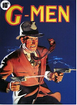 ORIGINAL 20X24 G-MEN Pulp pinup Detective FBI Gangster Illustration Deco G MAN