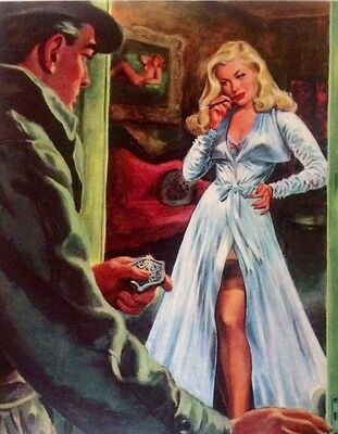 ORIGINAL 20X24 POLICE DETECTIVE and PINUP Pulp Art FBI ILLUSTRATION Art Deco
