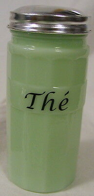 Jade Jadeite Milk Green Glass French Tea The' Hoosier Style Canister Cannister