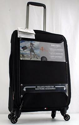 "Delsey Chatillon 20.5"" Lightweight Expandable Spinner Carry On Suitcase Black"