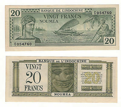 1944 NEW CALEDONIA 20 FRANCS P-49 aUNC. WORLD WAR 2 FB-17 INV#FB-17