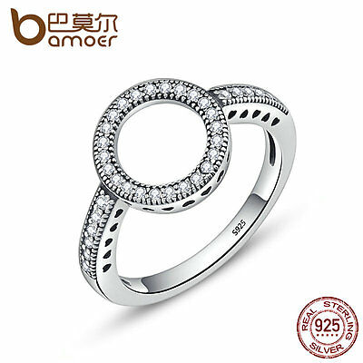 Bamoer S925 Sterling Silver Halo Finger Ring With CZ For women Fashion Jewelry