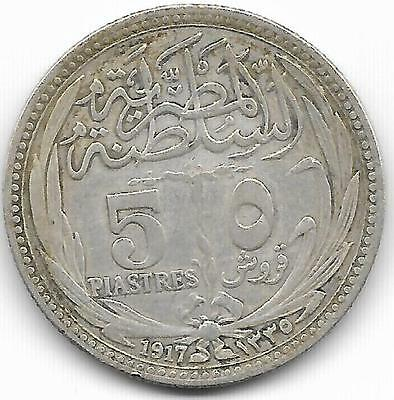 Egypt 1917 50 Piastres Coin - Xf  Condition - Bv$20