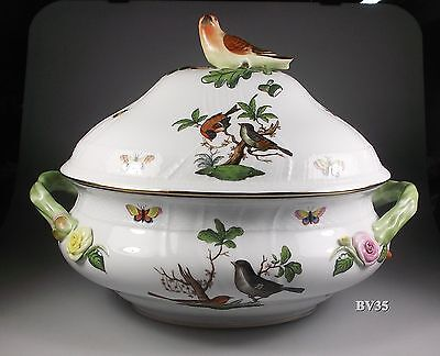Herend Rothschild Bird Large Soup Tureen With Lid & Bird Finial 1002 - Perfect