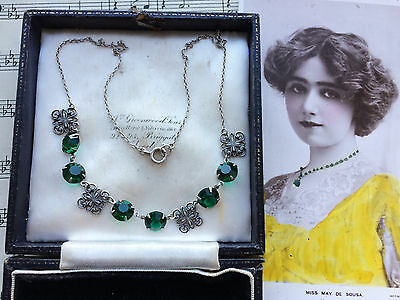 Antique Art Nouveau Arts And Crafts Emerald Paste Silver Riviere Necklace. Gift