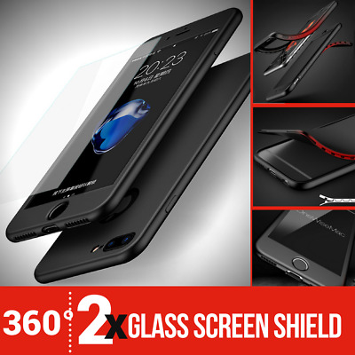 For Apple iPhone 8 7 6s 6 Hybrid 360° New Shockproof Case Tempered Glass Cover