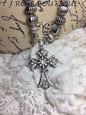 Jrb712 Medieval Christmas Wedding Gothic Rhinestone Cross Christian Necklace