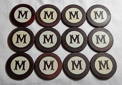 Lot Of Twelve Old Clay Poker Chips With Fancy M