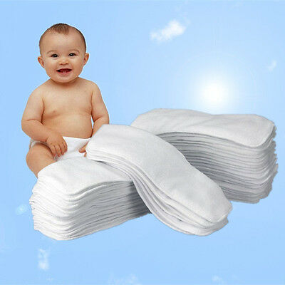 10Pcs Washable Baby Cloth Diaper Nappy Liners Insert Microfiber 2 Layer US