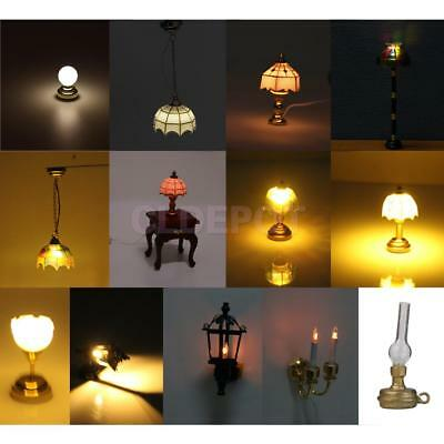 12th Dollhouse Miniature LED Wall/Floor Lamp Furniture Doll Room ACCS Collection