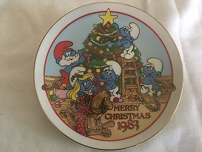 Ceramic SMURF PLATE Night Before Christmas 1983 LTD EDITION Wallace Berrie & Co