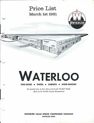 Tool Catalog - Waterloo - Box Chest Work Bench Cabinet Price List - 1961 (TL32)