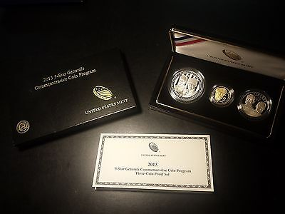 2013 5-Star Generals Commemorative Proof Gold and Silver 3-Piece Coin Set