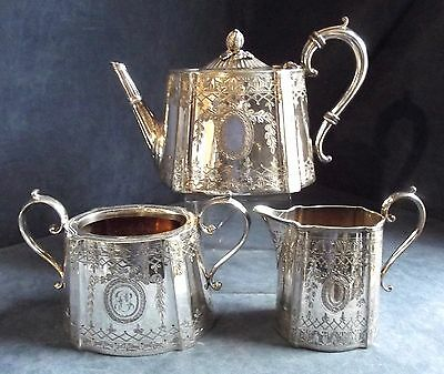 SUPERB ~ Deep FLUTED ~ SILVER Plated ~ Engraved TEA SET ~ c1890 by Atkins Bros.
