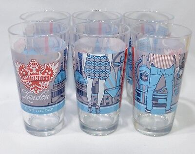 "SMIRNOFF VODKA 6 Verres tumbler 35 cl  ""London""  + housse tour cou MP3 NEUF"