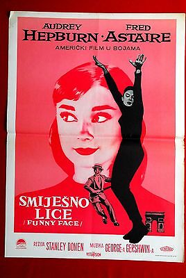 Funny Face Fred Astaire Audrey Hepburn 1957 Rare Exyu Movie Poster
