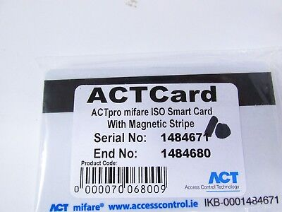 1 Pack of 10 ACT Pro Mifare ISO Smart Cards with Magnetic Stripe.
