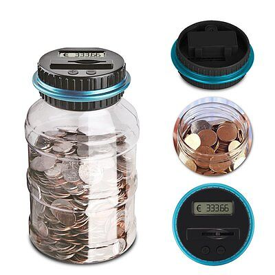 Euro Coins Counter Saving Jar Money Box Saving Bank Digital LCD Display