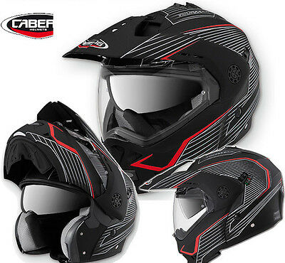 New Caberg Tourmax Black Red Motorcycle Dual Sports Adventure Helmet Size Xs-Xl