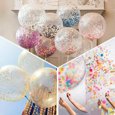 3x Rose Gold Baby Pink And White Confetti Balloons 1st Birthday Wedding