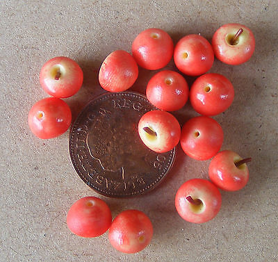 1:12 Scale 9 Red Delicious Apples Tumdee Dolls House Miniature Fruit Kitchen