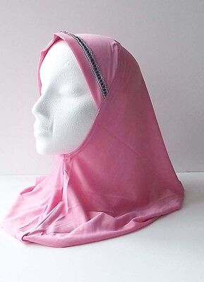 Womens One Piece Islamic Head Covering Hijab Plain w/Embroidery on Front