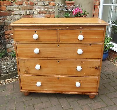 Victorian Stripped Pine Rustic Country Chest Of Five Drawers~Porcelain Handles