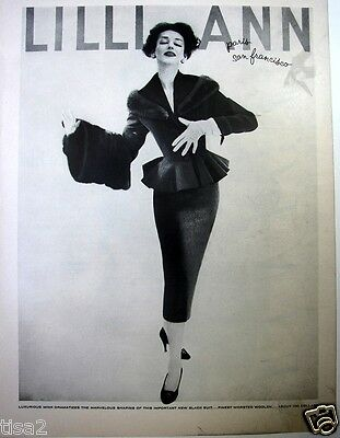 1957 LILLI ANN Wmns Wool Suit MINK Trim DORIAN LEIGH Vtg FASHION Photo Print Ad
